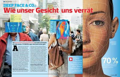Summer Glau targeted by facial recognition software in German magazine TV Digital.