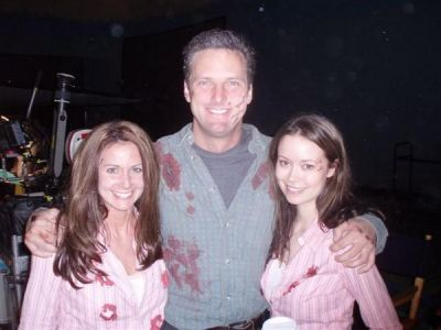 Summer Glau with her stunt double Sonja Munsterman on set of TSCC