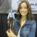 Summer Glau poses with Cameron action figure