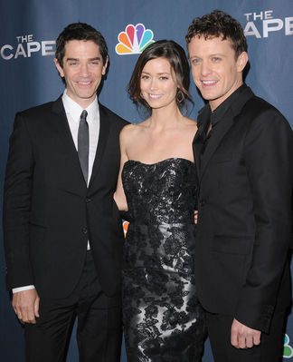 Summer Glau, James Frain and David Lyons at the premiere party for The Cape