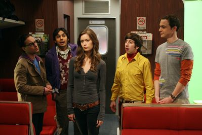 The guys of The Big Bang Theory being totally smitten over the appearance of Summer Glau on their show
