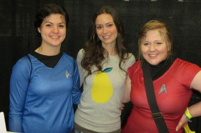 Summer Glau with Star Trek cosplayer at Wizard World Portland Comic Con, January 24 - 25, 2014