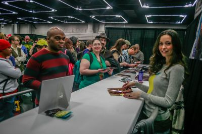 Summer Glau at her booth at Wizard World Portland Comic Con, January 24 - 25, 2014