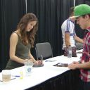 A pregnant Summer Glau and her Fiance Val at Edmonton Expo