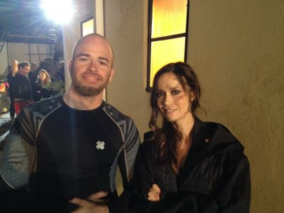 Behind-the-scenes photo of Summer on set of Jeff 1000