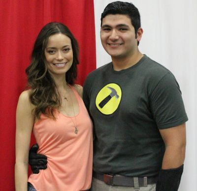 Summer Glau with Captain Hammer cosplay