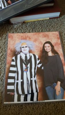 Summer Glau poses with Beetlejuice cosplay<br />