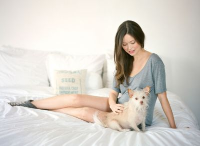 Summer Glau and her rescued dog Stanley