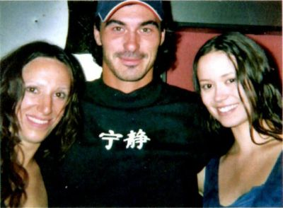 Summer with her stunt double in Serenity, Bridgett Riley, and stunt coordinator Chad Stahelski