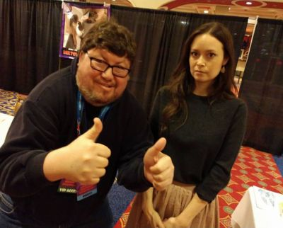 INSIDE JOKE - Actress Summer Glau clearly enjoying her biggest fan... (Yes, she was playing along as per her fan's request)