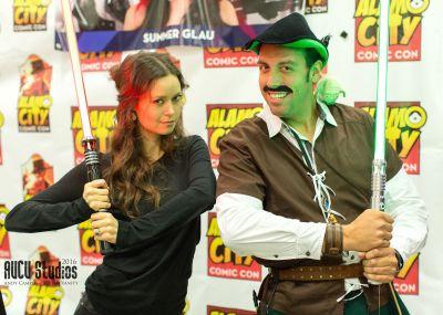 Summer Glau holding a light saber at Alamao City Comic Con
