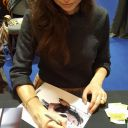 Summer Glau signs a TSCC poster and Terminator endoskeleton head at Belfast Comic Con, she was awesome.