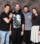 Arrow's John Barrowman, Colin Donnell and Summer Glau posing with fan at C2E2