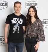 Summer Glau posing with fan at Comic Con Paris
