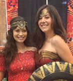 Summer Glau wearing Wonder Woman's tiara